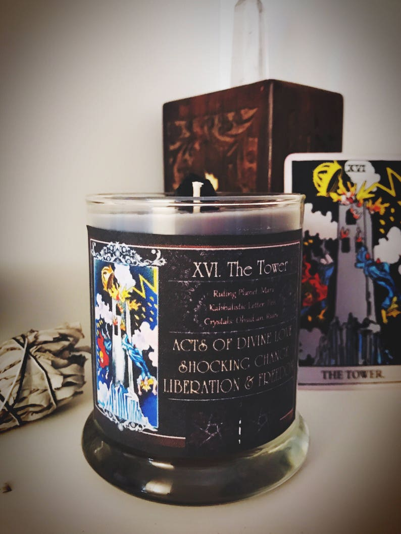 THE TOWER Tarot Candle - Spell Candle - Magick - Witchcraft - Rider Waite -  Obsidian