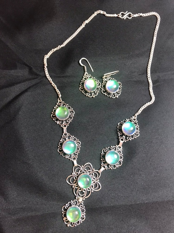 925 & Rainbow Topaz with matching Earrings.