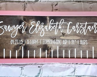 Birth stat sign nursery decor wood signs baby gift newborn birth stats sign framed wood signs ruler nursery decor personalized negle Image collections