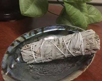 """White Sage, Abalone Shell, Smudging, Starter Set, Smudging Stick, All Natural, 5"""" to 6"""" long, Sacred Herb, Clean Burning, Cleansing Ritual"""