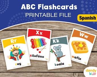 SPANISH Alphabet Flashcards / Printable Flashcards / ABC Set of 28 / Educational Flashcards