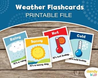 Weather Flashcards / Printable Flashcards / Set of 16 / Educational Flashcards