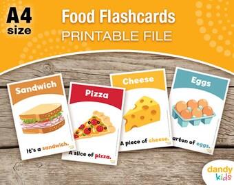 Food Flashcards / A4 / Printable Flashcards / Set of 14 / Educational Flashcards