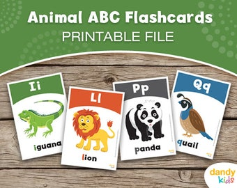Animal ABC Flashcards / Printable Flashcards / Set of 26 / Educational Flashcards