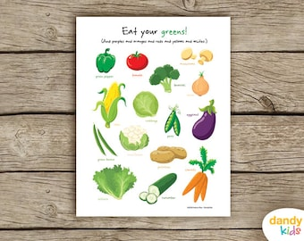 Eat your greens! / Vegetable Wall Art / Poster / Printable / Home Decor / Digital Print / Instant Download