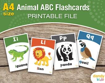 Animal Alphabet Flashcards / A4 / Printable Flashcards / Set of 26 / Educational Flashcards