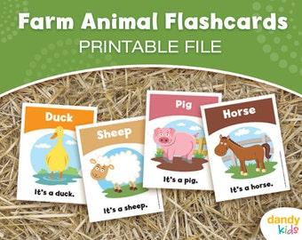 Farm Animal Flashcards / Printable Flashcards / Set of 12 / Educational Flashcards