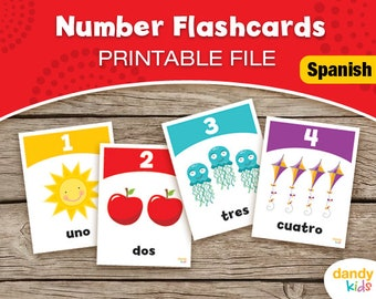SPANISH Number Flashcards / Printable Flashcards / Numbers 1-10 / Educational Flashcards