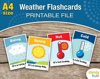 Weather Flashcards / A4 / Printable Flashcards / Set of 16 / Educational Flashcards