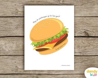 Hamburger Joke Wall Art / Printable / Kids Wall Art / Home Decor / Digital Print / Instant Download
