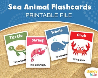 Sea Animal Flashcards / Printable Flashcards / Set of 12 / Educational Flashcards