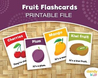 Fruit Flashcards / Printable Flashcards / Set of 15 / Educational Flashcards