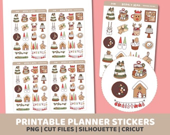 Christmas Doodles Stickers | Printable | Planner Stickers | Cut Lines | Planner Sticker Printable | D06