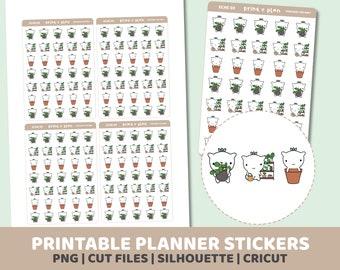 Plants Eche Stickers | Printable | Planner Stickers | Cut Lines | Planner Sticker Printable | ECHE03