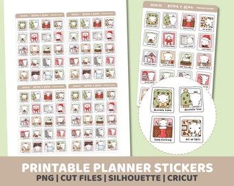 Christmas Bucket List | Eche Character Stickers | Printable | Planner Stickers | Cut Lines | Planner Sticker Printable | ECHE33