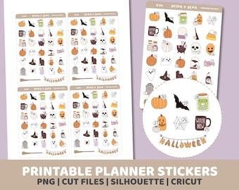 Halloween Countdown Stickers | Printable | Planner Stickers | Cut Lines | Planner Sticker Printable | D04