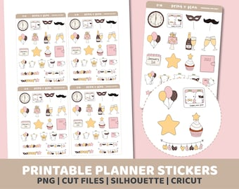 New Year Doodles Stickers | Printable | Planner Stickers | Cut Lines | Planner Sticker Printable | D16