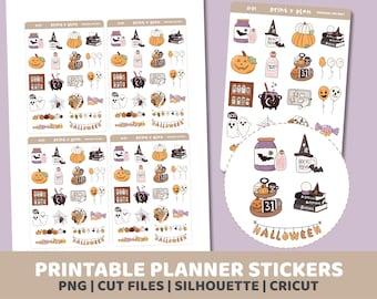 Halloween Doodles Stickers | Printable | Planner Stickers | Cut Lines | Planner Sticker Printable | D01