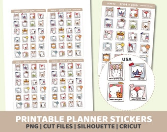 2022 USA Eche Holiday Stickers | Printable | Planner Stickers | Cut Lines | Planner Sticker Printable | ECHE42