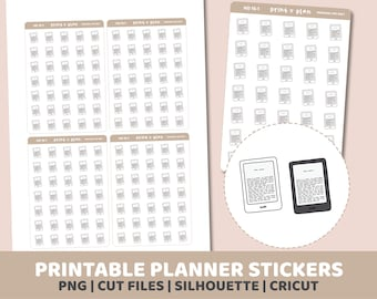 Kindle Stickers | Printable | Planner Stickers | Cut Lines | Planner Sticker Printable | HD15
