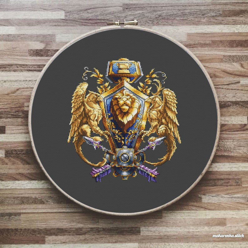 World of Warcraft Crest of the Alliance Cross stitch pattern image 0