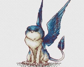 The griffin, griffon, gryphon - Town Gryphon pattern - Cross stitch pattern - DMC - gryphon art - Instant PDF Digital Download