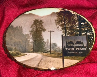 Twin Peaks inspired large wooden wall hanging ~Welcome To Twin Peaks Sign~population 51,201