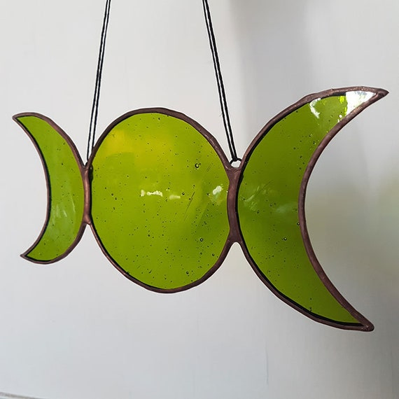 Green Glass Triple Goddess Symbol Pagan Symbol Wiccan Etsy