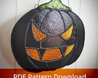 Stained Glass PATTERN / Creepy Evil Pumpkin Stained Glass Pattern PDF  for Instant Download / Halloween Pumpkin Cartoon