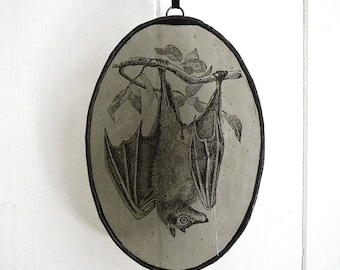 Stained Glass Oval Hanging Bat  on Grey / Gothic Memento / Victorian Style Decor / Steampunk Art Bat