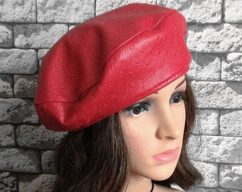ca38ca226fa9d Red Leather Beret Woman Red Hat Fashion Size 56-58 D 27cm
