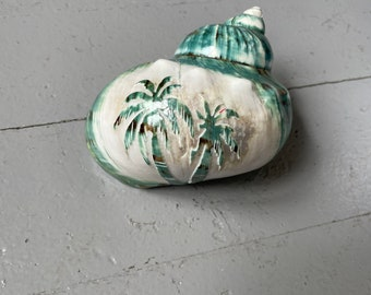 """Carved palm trees jade turbo shell - hermit crab changing shell - opening widths 2 1/8"""" - 2 3/8"""""""
