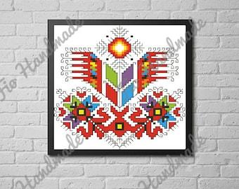 Shevitsa Broderie Bulgare Fleur Rouge Art Imprimable Pixel Etsy