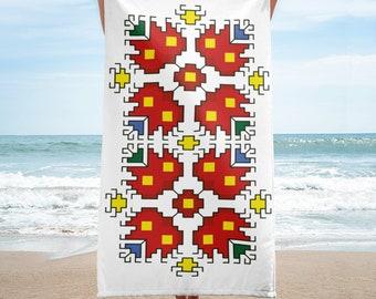 Beach Towel Cross Stitch Embroidery Design Shevitsa Elbetitsa Red Flowers