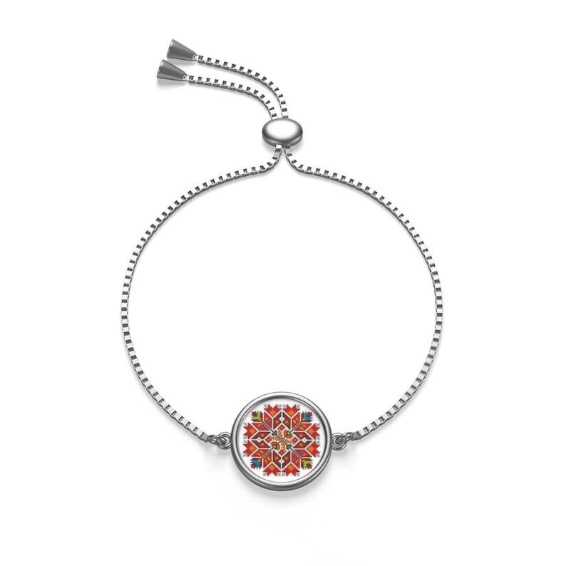 SB004 Box Chain Bracelet Gold or Silver Cross Stitch Embroidery Design Bulgarian Shevitsa Christmas Star Print Jewellery Sublimation
