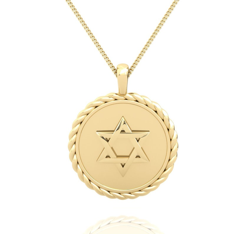 Two Sided Star of David Gold Pendant