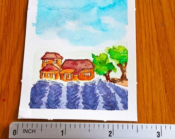 ORIGINAL ACEO watercolor painting | Lavender Fields in Provence