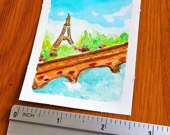 ORIGINAL ACEO watercolor painting | Eiffel Tower