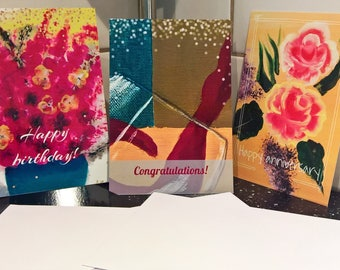 Set of 3 single-sided, flat note cards   birthday card, congratulations card, anniversary card