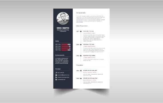 Einfache Timeline Lebenslauf Vorlage | Etsy