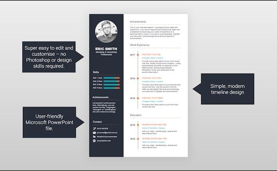Einfache Timeline Lebenslauf Cv Vorlage Etsy