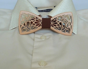 278fceedc19b Wooden bow tie wedding, handmade, natural wood, Natural color, bow tie on a  gift, on every day, size 5*11 cm.