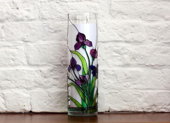 Hand Painted Irises Vase Tiffany Style Flowers Vase Round Etsy