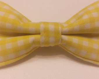 Boys Yellow and White Gingham Bowtie
