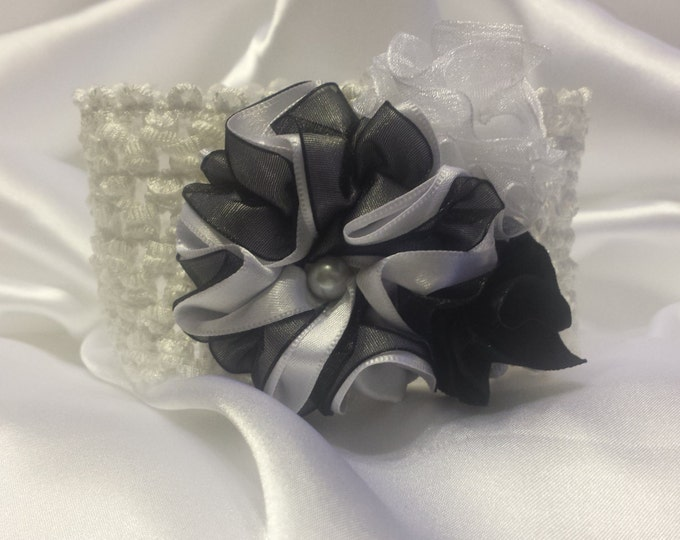 Newborn Baby Girls Princess White and Black Headband