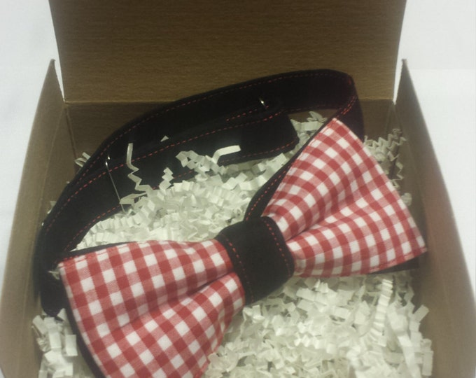 Men's Red Black and White Plaid Bowtie