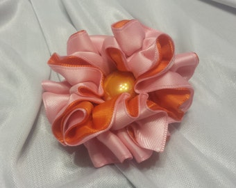 Girls Rose Pink and Orange Barrette