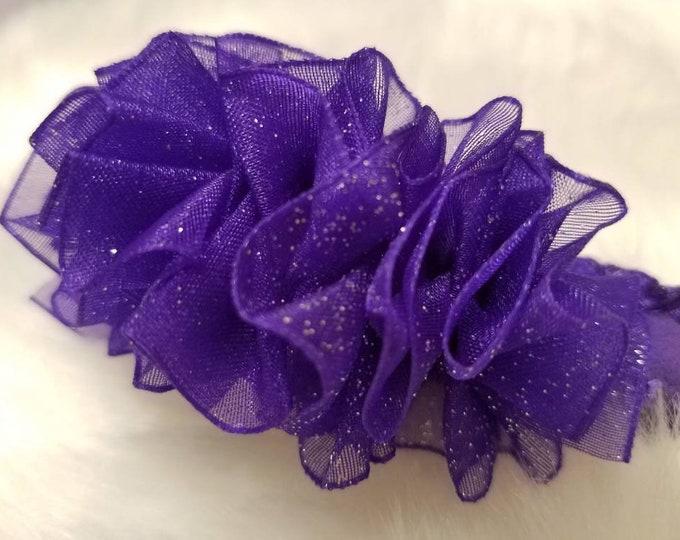 Newborn Baby Girls Preemie Sparkling Purple Sheer Headband