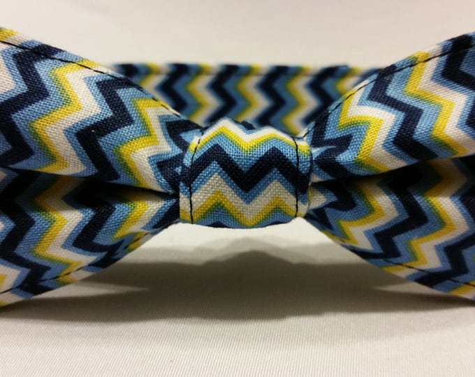 Boys Zigzag Yellow and Blue Bowtie