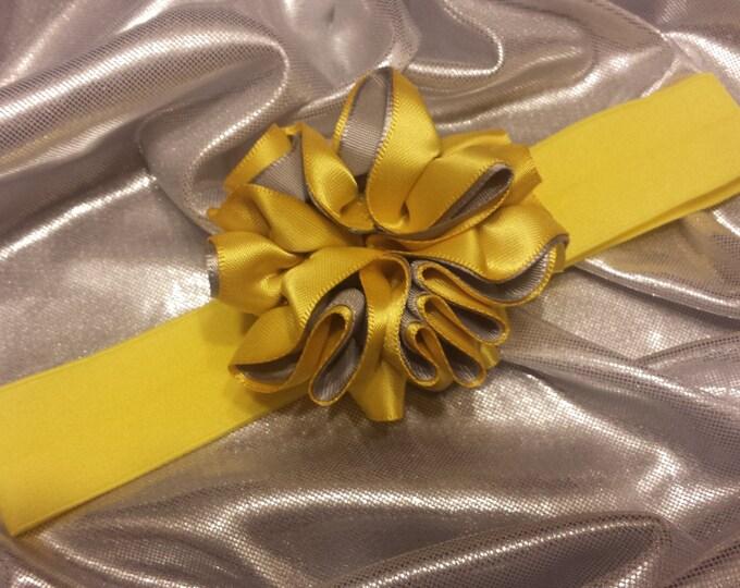 Girls Precious Yellow and Gray Headband